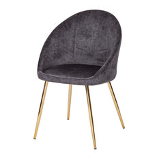 Golden Cove Dining Chair - Distressed Gray Leather/Gold