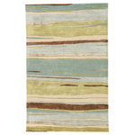 Jaipur - Jaipur Living Bernini Handmade Abstract Multicolor Area Rug, 8'x11' - The hand-tufted area rug boasts a sumptuous blend of wool and viscose, offering a stunning luster to modern homes. A modern pattern of variegated lines showcases fresh tones of blue, green, beige, and brown for a sophisticated and coastal colorway.
