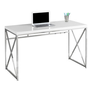 "48"" Computer Desk With Chrome Metal Base, Glossy White"