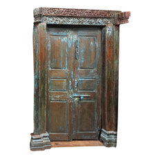 Mogul Interior - Consigned, Antique Blue Patina Reclaimed OM Teak Doors and Frame Indian Furnitur - Front Doors