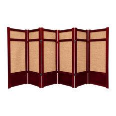 4' Tall Low Jute Shoji Screen, 6 Panel, Rosewood