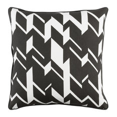 Modern Cotton Black and White Accent Pillow, 18  x18