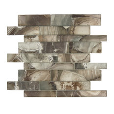"""11.75""""x11.75"""" Magical Forest Linear Glossy Glass Tile, Champinion Brown"""