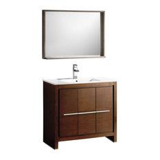 "Fresca Allier 36"" Wenge Brown Modern Bathroom Vanity, Mirror"