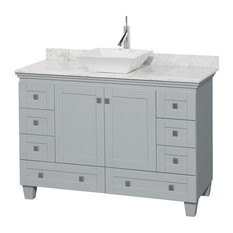 "Acclaim 48"" Single Vanity, Oyster Gray, Carrera Marble Top, Pyra White Sink"