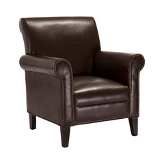 Ryker Leather Club Chair, Chocolate Brown. Beige Leather Studded Chairs
