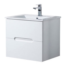 "Wall Mount Bathroom Vanity Elton 24"" with Porcelain Sink Top, Matte White"