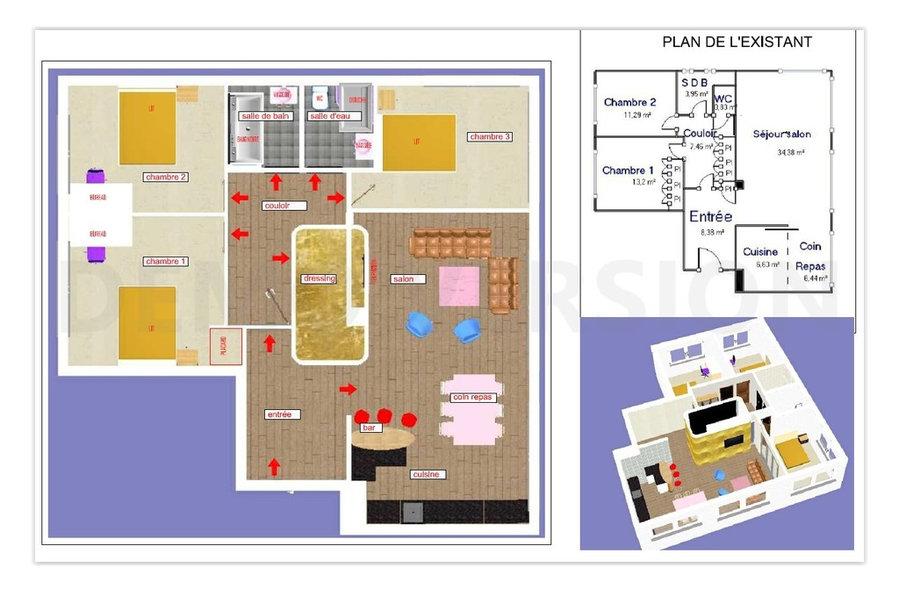 Etude pour reamenagement d'un appartement 85 m² - Neuilly-sur-Seine