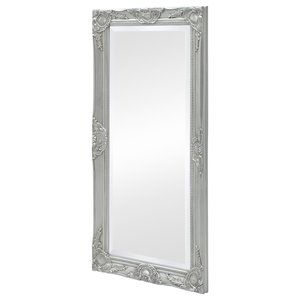 vidaXL Wall Mirror Baroque Style, Silver, 100x50 cm