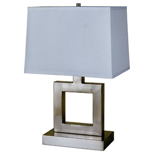 "22"" Tall metal Table Lamp with Nickel finish, Square design, White Fabric Shade"
