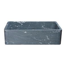 "36"" Farmhouse Kitchen Sink, Single Bowl, Reversible, Charcoal Marquina Soapstone"