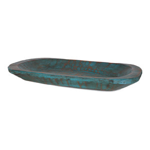 Painted Rustic Wooden Dough Bowl, Turquoise