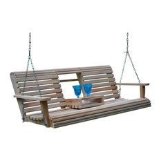 1st Avenue Fairfax Collapsible Cup Holder Swing Deep Ocean Blue Porch Swings