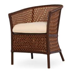 Lloyd Flanders Grand Traverse Barrel Dining Chair, Bisque Finish, Camp Pesto