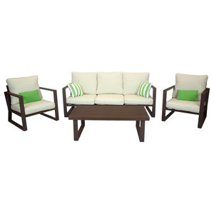 Outdoor 4-Piece Bolonia Furniture Set With 3-Seater Sofa, Bronze