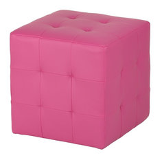 Braque Cube Ottoman, Pink