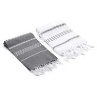 Bodrum Datca Turkish Hand Towels, 2-Piece Set, Gray