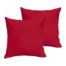 Corrigan Sunbrella Outdoor Square Pillow, Set of 2, Red, 18x18