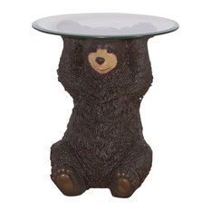 Powell Home Fashions 16C2000 Barney Bear 22 Inch Diameter Glass Top Resin Accen by Powell Furniture