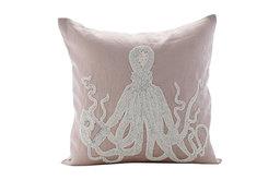 "Beaded Octopus Mocha Euro Sham, Cotton Linen 26""x26"" Euro Pillow, Sea Squid"