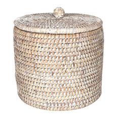 White Wash Rattan Toilet Paper Holder Basket, Set of 2