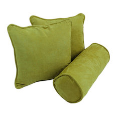 Solid Microsuede Throw Pillow Inserts, Set of 3, Mojito Lime