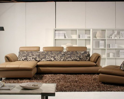 Luxury Leather Curved Corner Sofa With Pillows   Sectional Sofas
