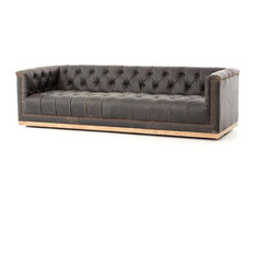 Zin Home   Maxx Distressed Black Leather Tufted Sofa   Sofas