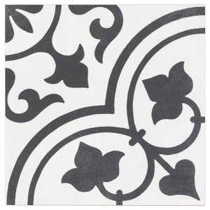 Sintra Ornate Matte 9 X9 Porcelain Field Tile Black White Contemporary Wall And Floor Tile By Ivy Hill Tile