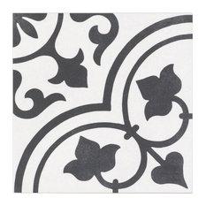 "Sintra Ornate Matte 9""x9"" Porcelain Field Tile, Black & White"