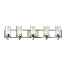 Five Light Brushed Nickel Clear Outer Frosted Inner Glass Vanity
