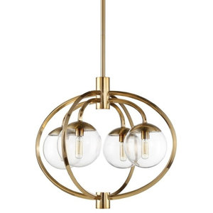 "Craftmade 45524 Piltz 4-Light 22"" Globe Chandelier, Satin Brass"