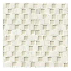 "Tessuto 0.75""x1"" Offset Brick Pattern Textured Glass Blend, White"