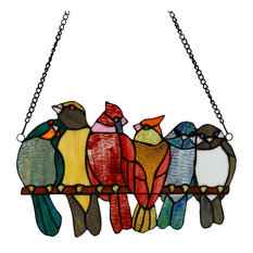 """9.5""""H Birds in Love Stained Glass Window Panel"""