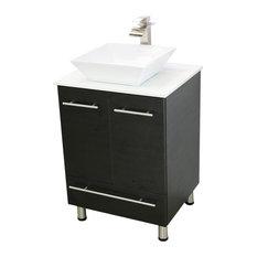 "Windbay 24"" Freestanding Vanity Sink, Black, White Stone Countertop"