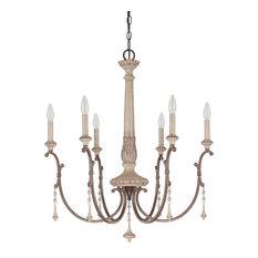 Capital Lighting 4096FO Chateau 6-Light Chandelier, Solid Wood Column, Oak