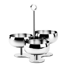 Plexi Stainless Steel Nuts Holder, 3 Cups