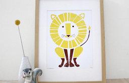 Lion Screenprint Nursery Art by Sass&Peril