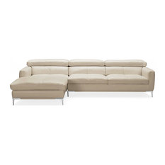 Modern Eden Sectional Left Chaise Sofa With Ottoman In Beige Leather