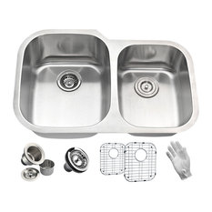 """ANZZI Moore 32"""" Undermount 60/40 Double Bowl Kitchen Sink in Brushed Satin"""