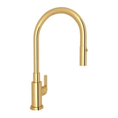 Rohl - Rohl A3430 Lombardia Pull-Down Spray Kitchen Faucet, Italian Brass - Kitchen Faucets
