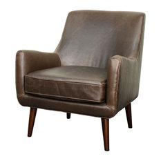 Zoe Bonded Leather Armchair With Brown Legs, Vintage Dark Brown