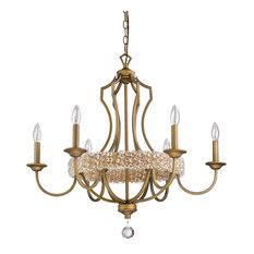 Ava 6-Light Chandelier, Raw Brass, Clear Crystal