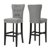 GDF Studio Padma Tufted Back Fabric Barstools, Gray, Set of 2