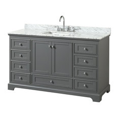"Deborah 60"" Single Bathroom Vanity, Dark Gray, Carrara Top, Square Sink"