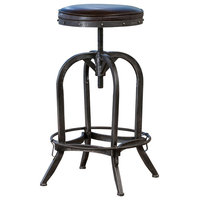 GDF Studio Brixton Adjustable Swivel Bar Stool, Brown Leather