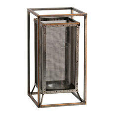 Caged Candle Large Metal Candleholder With Glass Cylinder