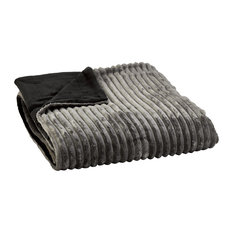 Reversible Ribbed Flannel Throw, Dark Grey and Black, Small