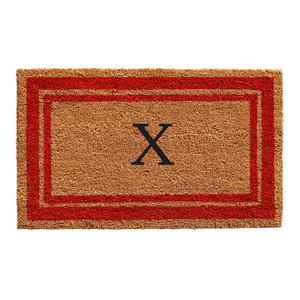 Red Border Doormat 2 X3 Traditional