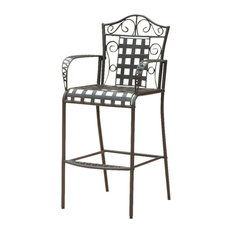 Mandalay Iron Bar-Height Dining Chairs, Set of 2, Rustic Brown